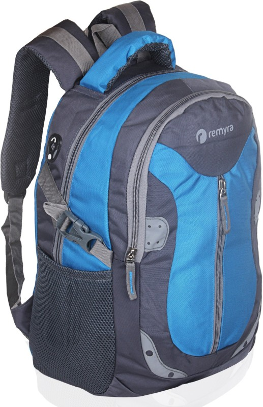 Remyra Reflector Casual Laptop Backpack Travel Pithu Bag Waterproof Multi-Functional Slim Business Backpack for Daily Work (Sky Blue and Grey) Waterproof Backpack(Light Blue, Grey, 30 L)