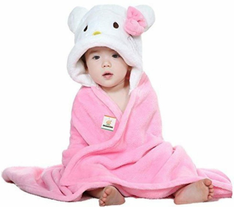 BRANDONN Pink, White Free Size Bath Robe(Bath Robe, For: Baby Boys & Baby Girls, Pink, White)