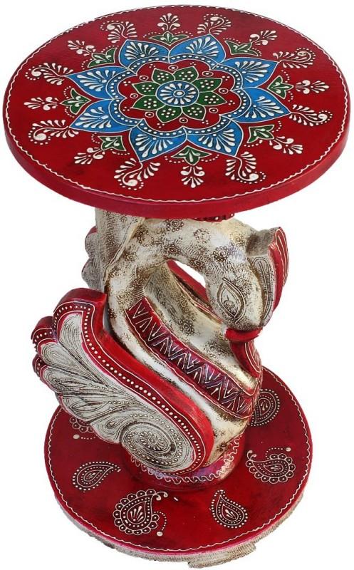 Phoenix Artworld Wooden Round Sitting Stool Table I Decorative Living & Bedroom Stool(Red, White)