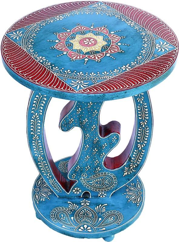 Phoenix Artworld Wooden Round Sitting Stool Table I Decorative I Ethnic I Handmade I Rajasthani I Traditional I Showpiece I Handicraft I Home Décor (18 Inch, Multicolor) Living & Bedroom Stool(Blue, Red)