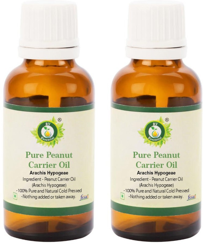 R V Essential Pure Peanut Carrier Oil (100ml+100ml) Pack of Two- Arachis Hypogeae (100% Pure and Natural Cold Pressed)(200 ml)