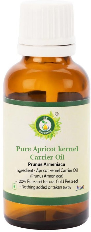 R V Essential Pure Apricot kernel Carrier Oil 30ml- Prunus Armeniaca (100% Pure and Natural Cold Pressed)(30 ml)