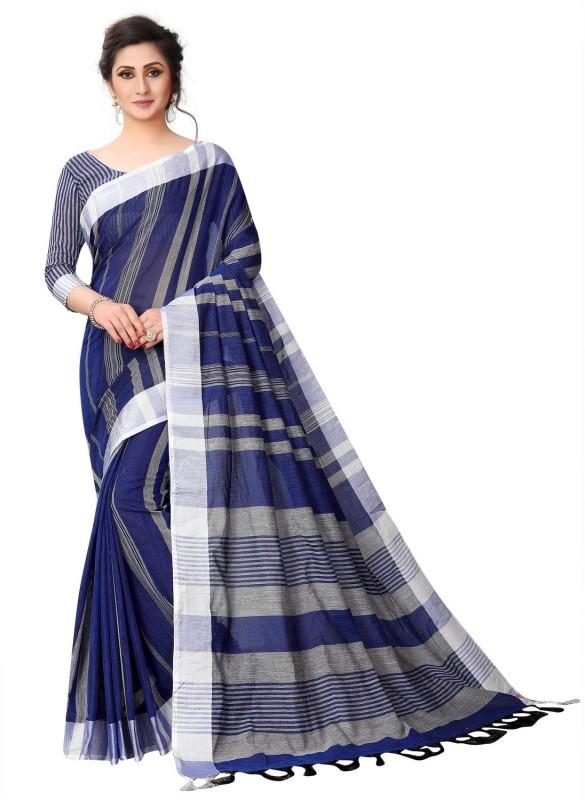 EKANTIK Striped Fashion Cotton Linen Blend Saree(Blue)
