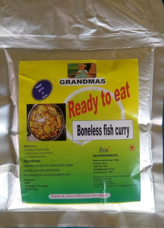 Grandmas Ready to eat TASTY boneless Sheela (barracuda) sea-fish curry | no preservatives | no artificial colors | just heat and serve | chepalu | no wastage | 250 gms | retort packed pouch barracuda Fish Clean(250 g Pack of 1)