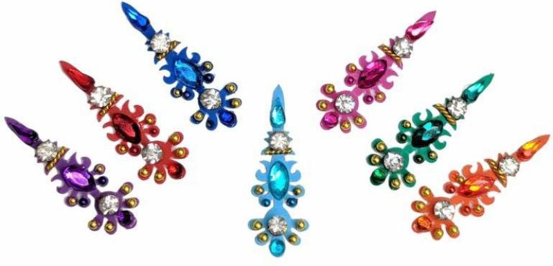 Comet Busters Multicolored Bridal crystal Bindi Forehead Multicolor Bindis(Indian Traditional Designer Bindi)