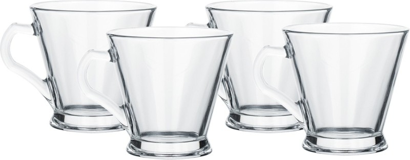 Femora Glass Espresso Tea Mug Coffee Mug - Set of 4-165 ML Glass(Clear, Pack of 4)