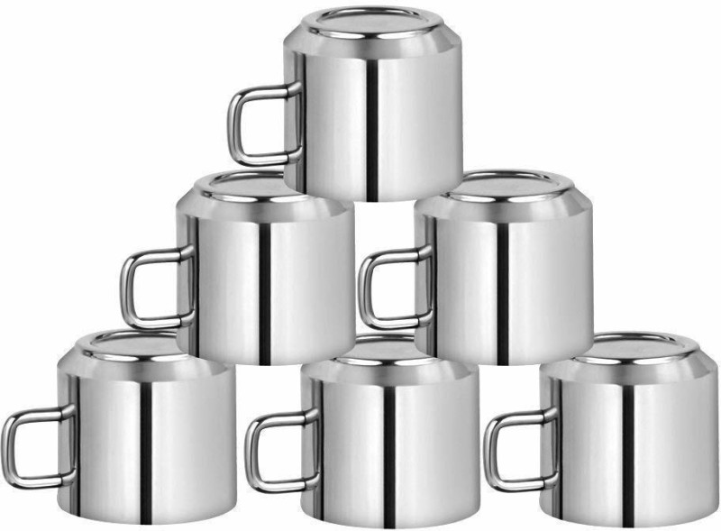 eleganzze Stainless Steel Tea Cups Steel(Steel, Pack of 6)