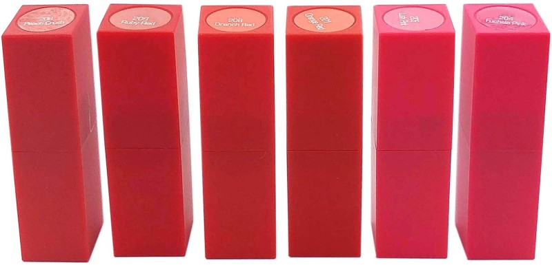 One Personal Care 6 in 1 Retro Matte Lipstick(Orange Red, Ruby Red, Lust Pink, Drench Red, Peach Crush, Fuchsia Pink, 42 g)