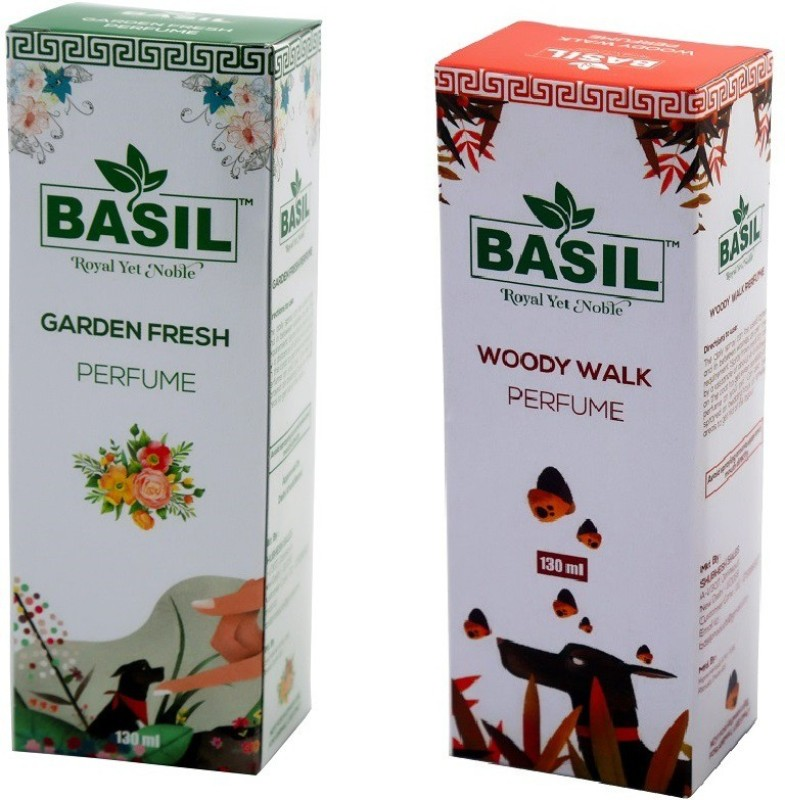 BASIL Pet Perfume (Antibacterial + Conditioning) Garden Fresh 1 + Woody Walk 1 Cologne(130 ml)