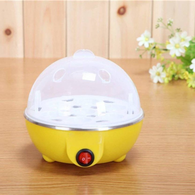 Right Products 2 in 1 Multifuctional Steaming Device Egg frying Boiling Roasting Heating Egg Cooker(Yellow, 7 Eggs)