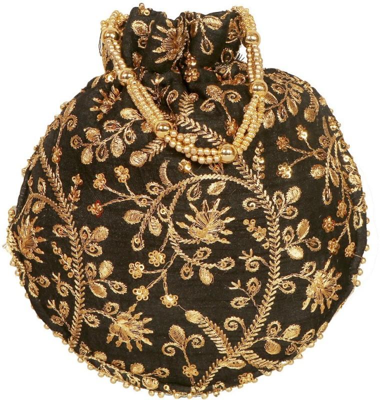 Your Pretty Closet Ethnic Rajasthani Potli Bag For Women, Bridal, Casual, Party, Wedding Potli(Black)