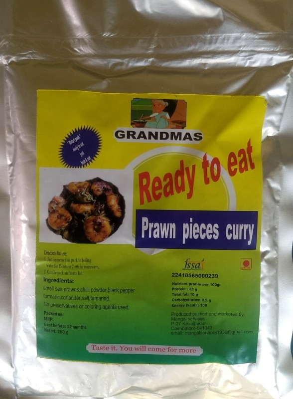 Grandmas Ready to eat TASTY 250 gms | retort packed pouch sea prawns Prawn Clean(250 g Pack of 1)