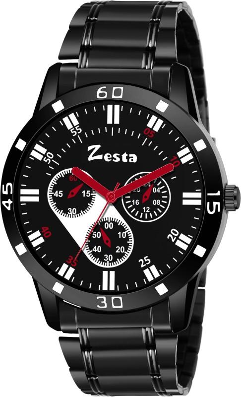 Zesta Stylish Black Chronograph Analog Watch - For Men