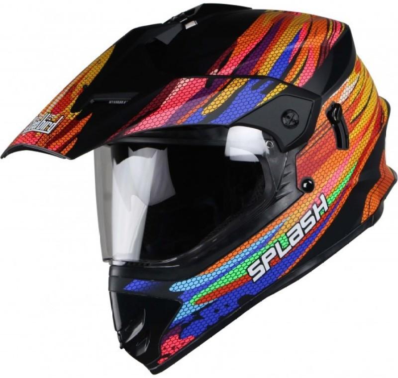 Steelbird Splash Motorbike Helmet(Matt black, pink with yellow, Glossy black, pink with yellow)