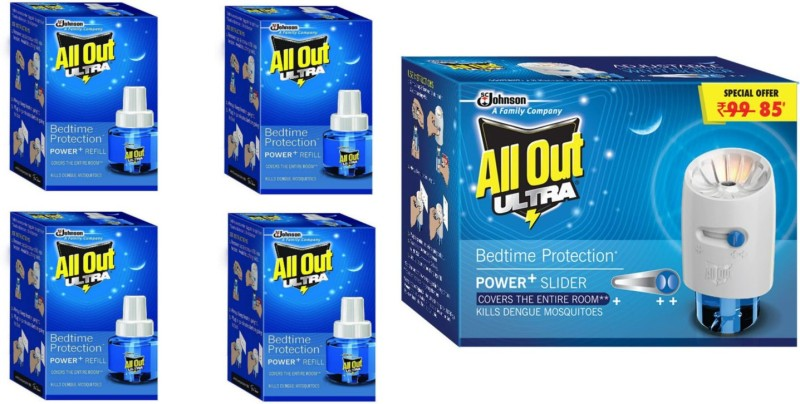 All Out Ultra Machine with Refill Combi + Pack of 4 Refill Mosquito Vaporiser Refill