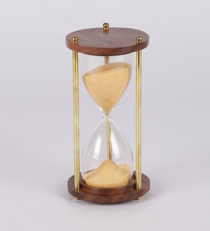 Exim Decor Brass and Wood Sand Timer Yellow 5.5