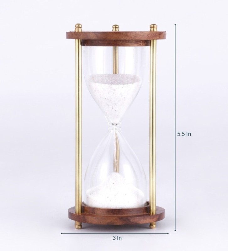 Exim Decor Brass and Wood Sand Timer White 5.5