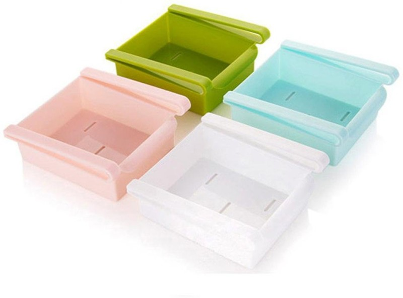 Flipzon Multi Purpose Storage Racks Tray (Pack of 4), (Color Will Send Based on Availability ) Plastic Kitchen Rack(Multicolor)