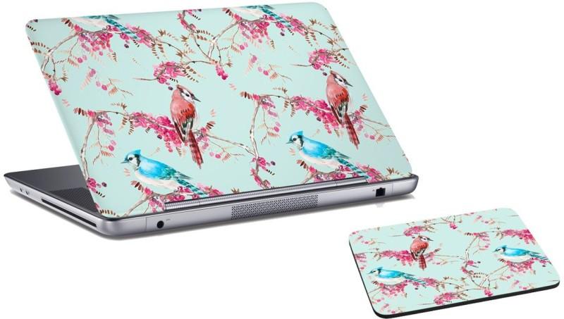 RADANYA Floral Laptop Skin And Mouse Pad Combo Set RD07105 Combo Set(Gray)