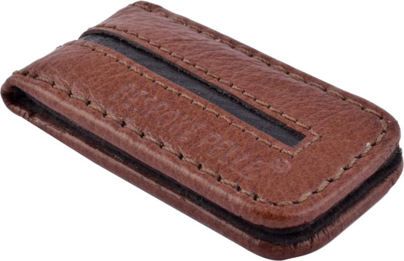 Bespoke Pelle Genuine Leather Slim Pocket Wallet/Money Clip for Men & Women Leather Money Clip(Brown, Black)