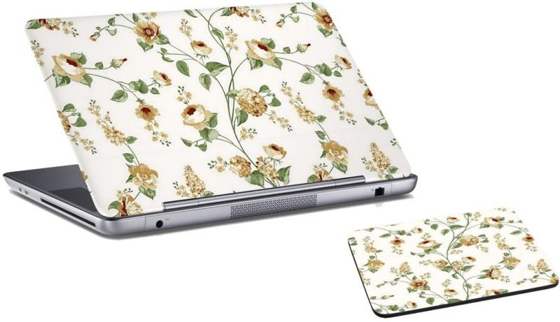 RADANYA Floral Laptop Skin and Mouse Pad Combo Set RDLSPD0254 Combo Set(Yellow)