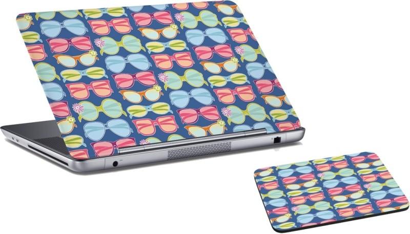 RADANYA Specs Laptop Skin And Mouse Pad Combo Set RD0591 Combo Set(Blue)