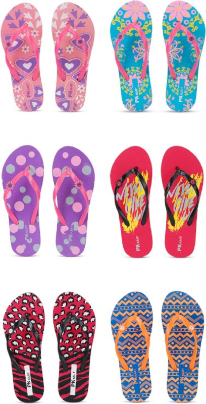 PKKART Womens Casual comfort stylish trending combo slippers (Pack of 6) Flip Flops