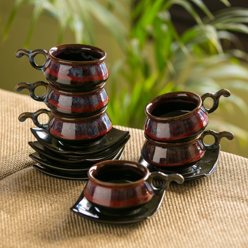 ExclusiveLane 'Crimson Mascarene' Hand Glazed Studio Pottery Ceramic Tea Cups & Saucers (Set Of 6) Ceramic(Black, Red, Blue, Pack of 6)