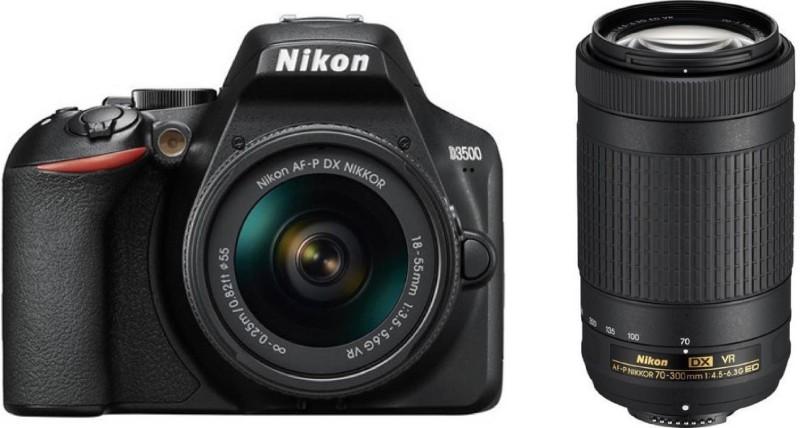 Nikon D3500 l DSLR Camera Body with 18-55 mm f/3.5-5.6 G VR and AF-P DX Nikkor 70-300 mm(Black)