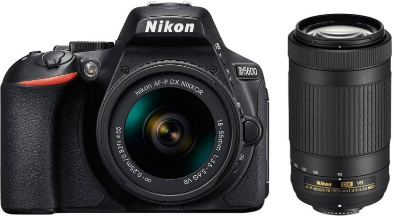 Nikon D5600 l1 DSLR Camera Body with Lens: AF-P DX Nikkor 18-55 MM + 70-300MM(Black)