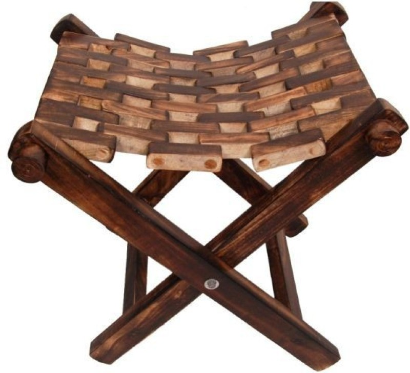 Phirkcraft Fold-able Wooden Stool for living & Bedroom/ Wooden Stool(Brown)