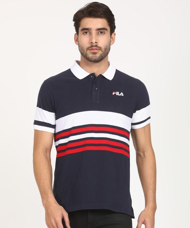 Fila Striped Men Polo Neck Blue T-Shirt