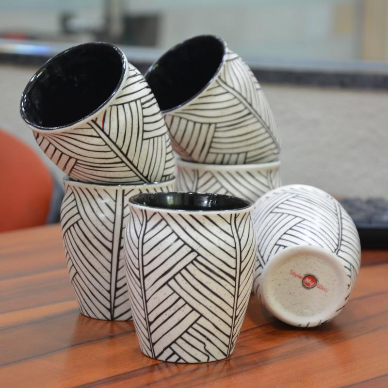 Style My Way Ceramic(White, Black, Pack of 6)