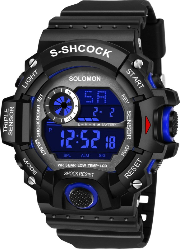 Solomon G - BlkBlue05 Chronograph Shock Resistance Alaram Day and Date Double Time Luminous Digital Watch - For Men