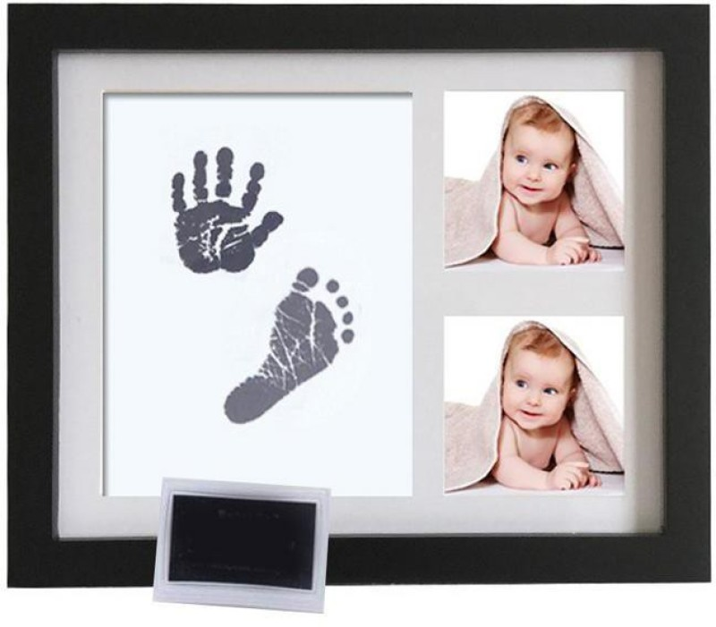 Desi Rang Baby Hand and Footprint kit with Frame, Infant Foot and Handprint Keepsake(Black)