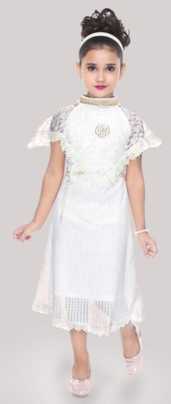 Digimart Girls Midi/Knee Length Casual Dress(White, Fashion Sleeve)