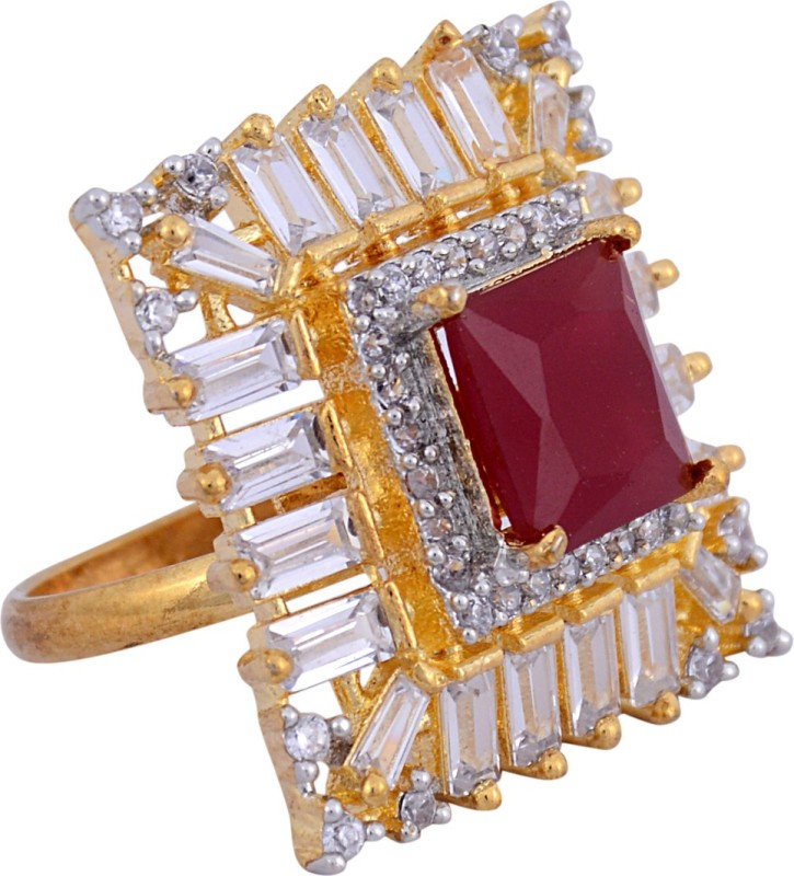 Darsha collections DCR015 Alloy Sapphire, Diamond Gold Plated Ring