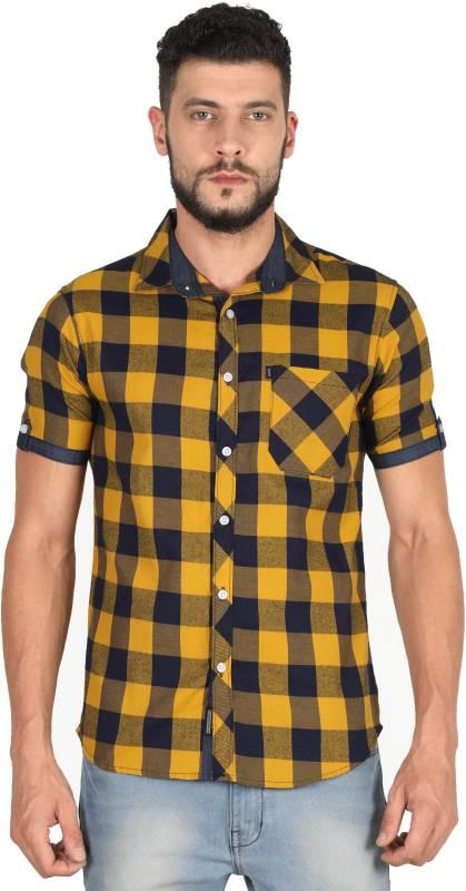 Rope Men Checkered Casual Yellow Shirt