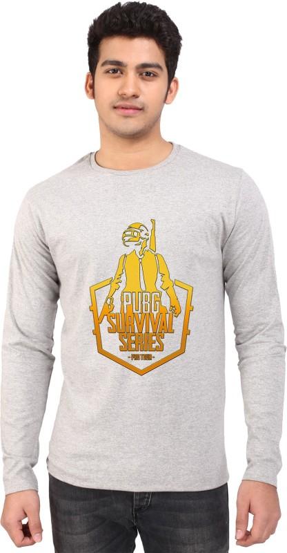 British Terminal Printed Men Round Neck Grey T-Shirt