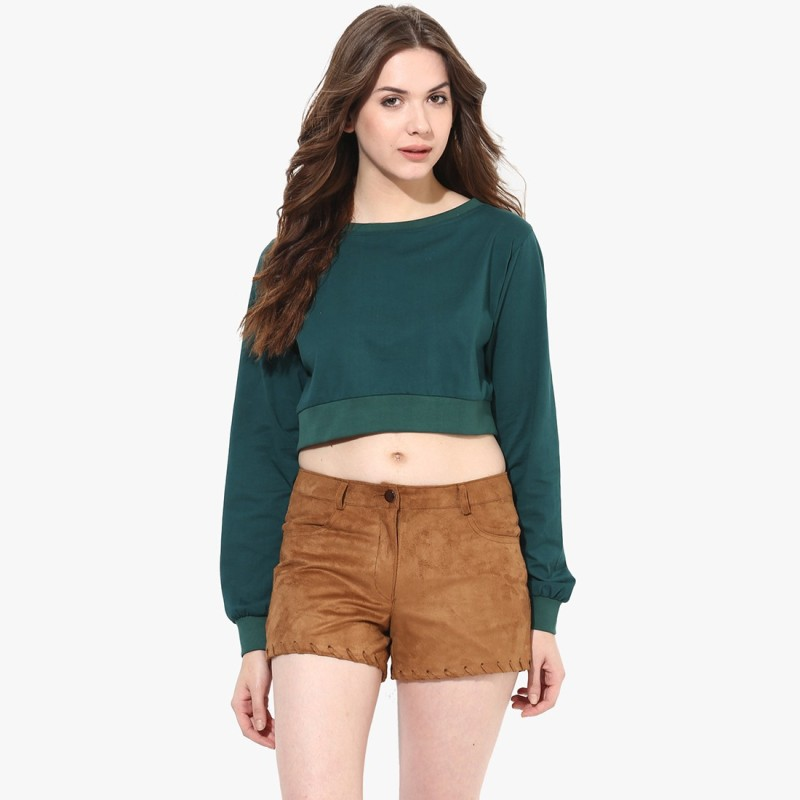 Miss Chase Casual Full Sleeve Solid Women Green Top