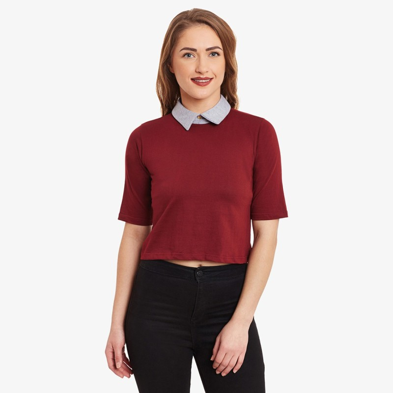 Miss Chase Casual Short Sleeve Solid Women Maroon Top