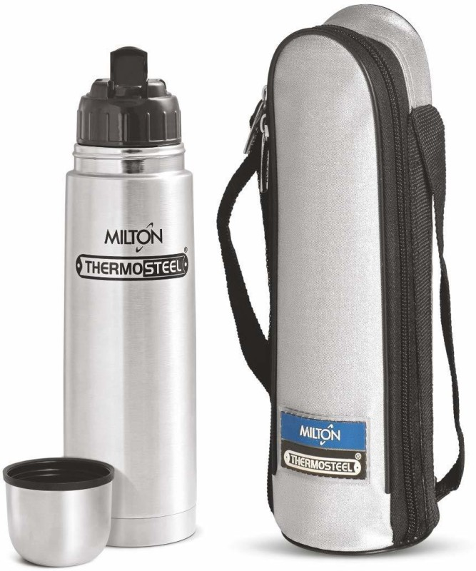 Milton Thermosteel Flip Lid Flask, 750 milliliters, 24 Hour Hot & Cold 750 ml Flask(Pack of 1, Steel/Chrome)