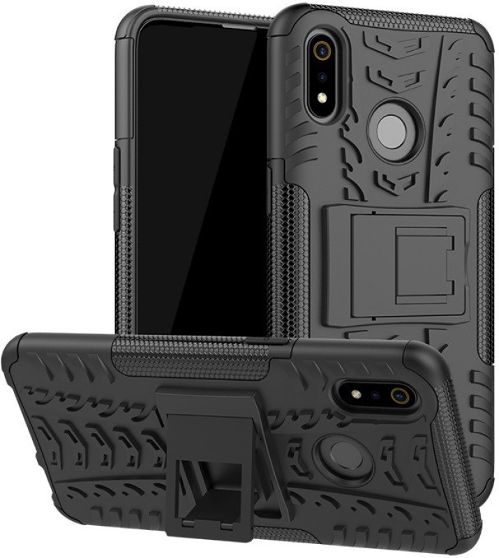 Krkis Back Cover for Realme 3 Pro(Black, Grip Case)