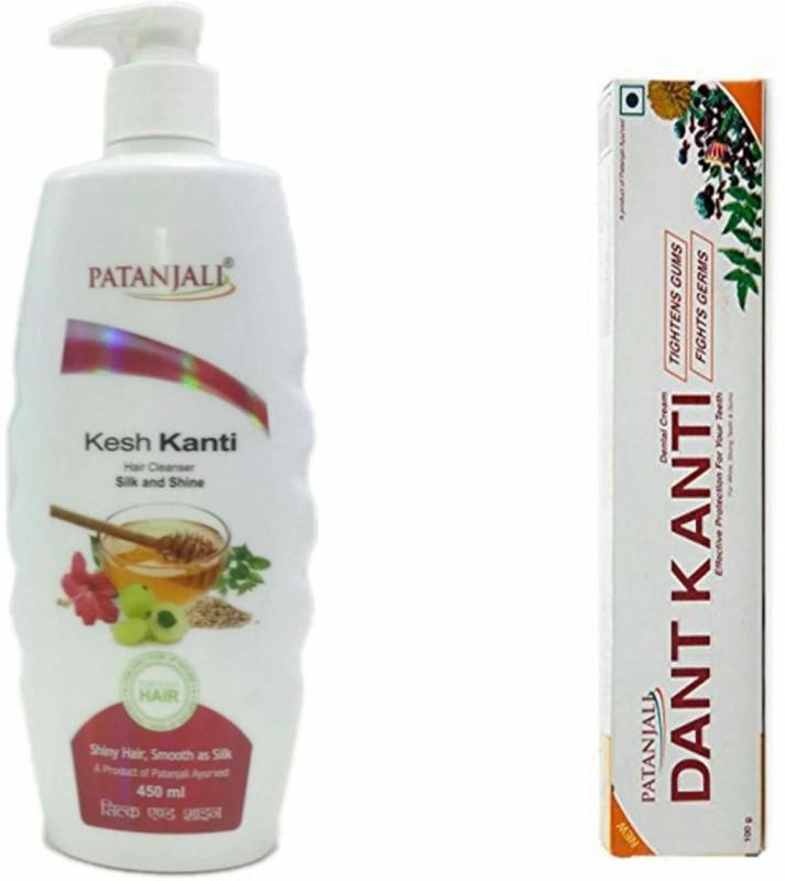 Patanjali Dantkanti Natural Toothpaste & Silk-Shine Shampoo 450ml(Set of 2)