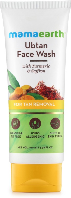 Mamaearth Ubtan Natural Face Wash for Dry Skin with Turmeric & Saffron for Tan removal and Skin brightning 100 ml - SLS & Paraben Free Face Wash(100 ml)