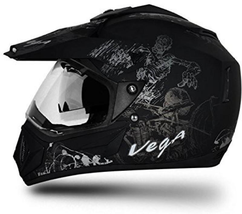VEGA Off Road D/V Sketch Motorsports Helmet(Silver, Dull Black)