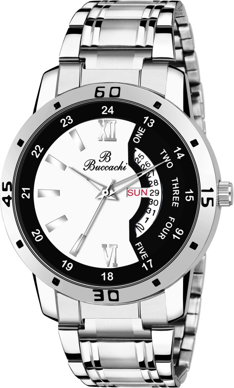 Buccachi B-GR5046-WTBK-CH White & Black Dial Day & Date Functioning Water Resistant Stainless Steel Bracelet Watch for Men/Boys Analog Watch - For Men