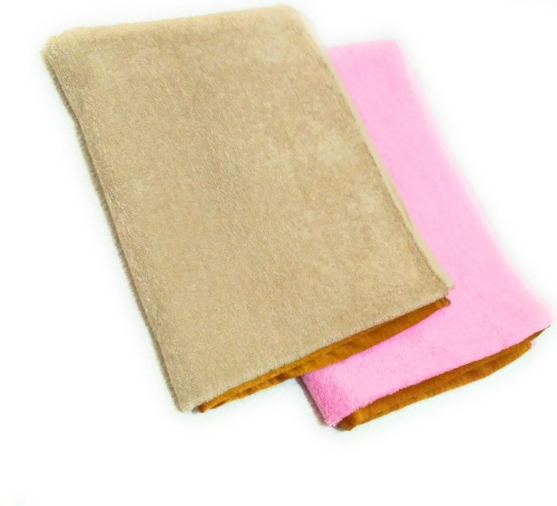 Cotton Colors Cotton Terry 450 GSM Bath Towel(Pack of 2, Pink, Beige)