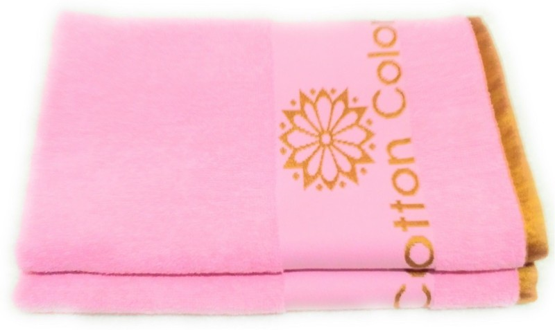 Cotton Colors Cotton Terry 450 GSM Bath Towel(Pack of 2, Pink)