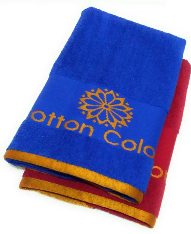 Cotton Colors Cotton Terry 450 GSM Bath Towel(Pack of 2, Dark Blue, Red)